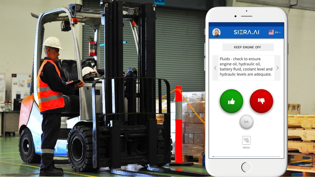 operator conducting a daily forklift inspection
